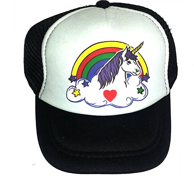 b9b6bddf Image Unavailable. Image not available for. Color: Toddler Kid's Rainbow  Unicorn Snapback Mesh Trucker Hat Cap