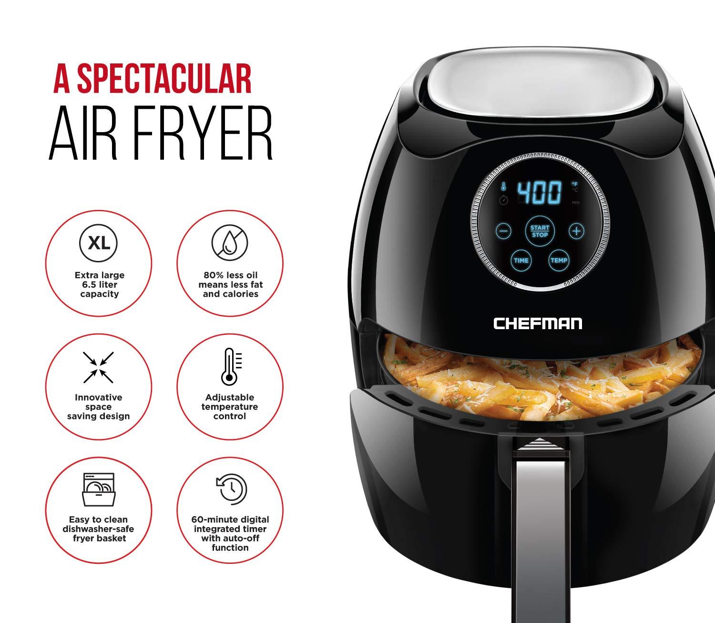 Chefman Digital 6.5 Liter/6.8 Quart Air Fryer Oven with Space Saving Flat Basket, Oil-Free Airfryer W/ 60 Min Timer & Auto Shut Off, Dishwasher Safe Parts, BPA Free, Family Size, X-Large, Black by Chefman (Image #2)