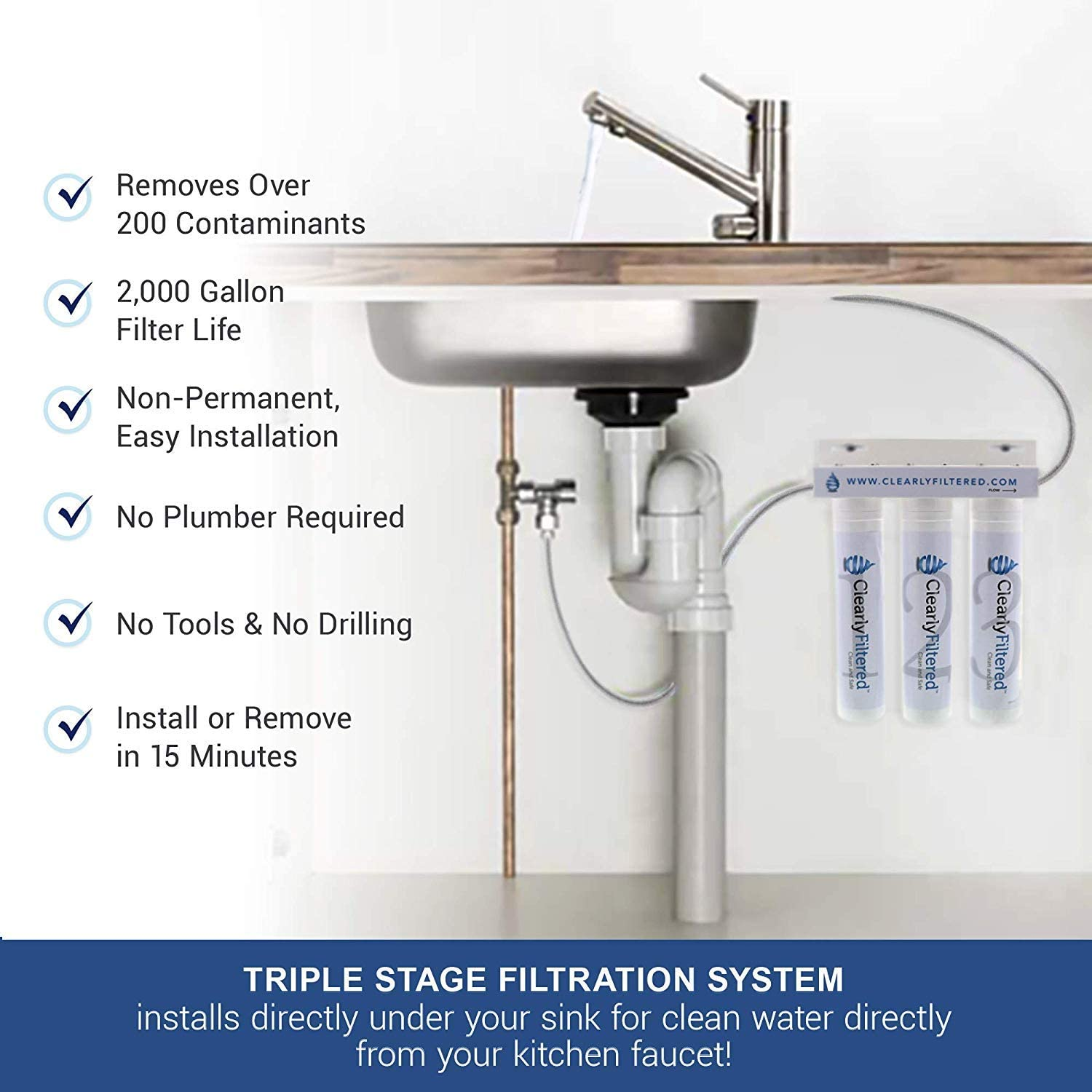 Triple Stage Kitchen Faucet Filtration System