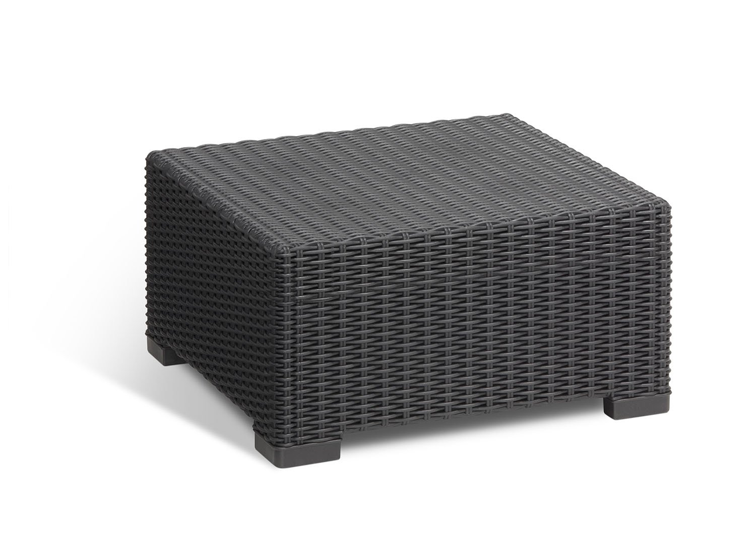 Keter California All-Weather Outdoor Patio Coffee Table in a Resin Plastic Wicker Pattern, Graphite