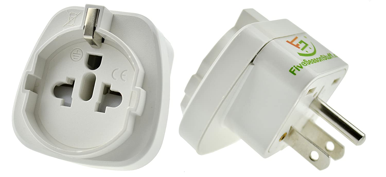 FiveSeasonStuff 1 x Adaptador Enchufe Schuko Viajes Reino Unido/Europa de 2-pin para UK 3-Pin (10A, 250V)/adaptador de Alemania/cargador a tierra/para USA, Canadá , Mé xico, Japó n, etc. (Blanca) Canadá México Japón EA24