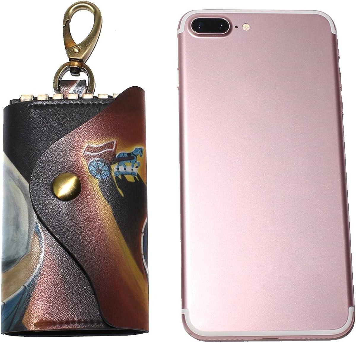 DEYYA Elephant In The Tub Art Painting Leather Key Case Wallets Unisex Keychain Key Holder with 6 Hooks Snap Closure