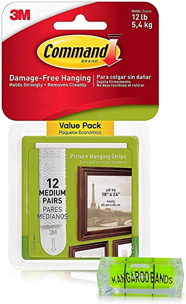Command Picture Hanging Kit| 3m Damage-Free Strips & Level| 12-Pair Perfect for Hanging Small & Medium Frames, Pictures on Walls/Drywalls & More| No Nail Damage| Bundled with KangarooBand Bubble Level