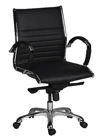 Schwarz Sitzmöbel Büromöbel Hochwertiger Leder Bürostuhl Schreibtischstuhl Drehstuhl