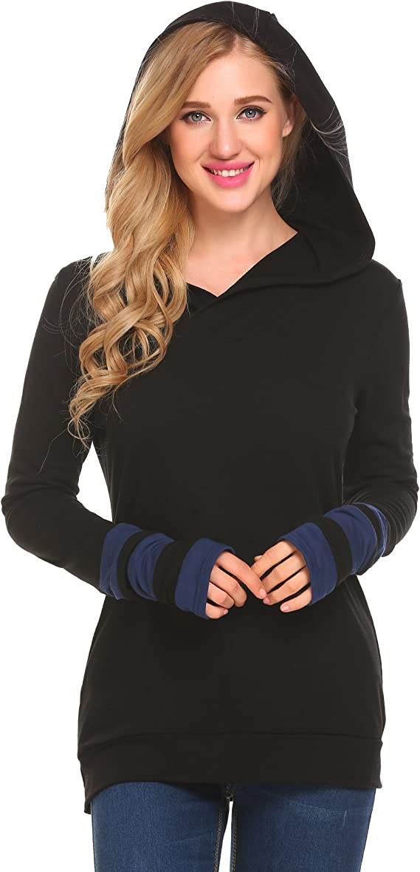 Zeagoo Women Color Block Hooded Thumb Hole Sleeves Blouse Top