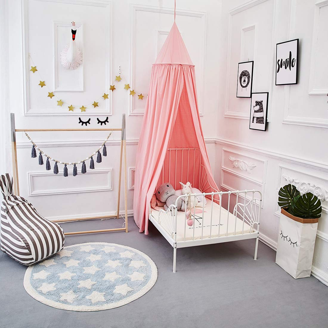 GoodStore 1405395004USAD ONMIER Mosquito Net Canopy Grey Cotton Canvas Dome Princess Bed Canopy Kids Play Tent Mosquito Net Childrens Room Decorate for Baby Kids Indoor Outdoor Playing Reading
