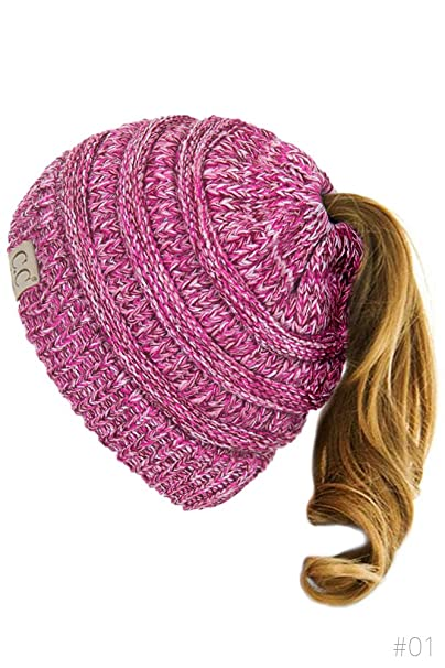 6da4e4e093848 ScarvesMe Multi Tone BeanieTail Kids Children s Soft Ponytail Messy Bun  Beanie Solid Ribbed Hat