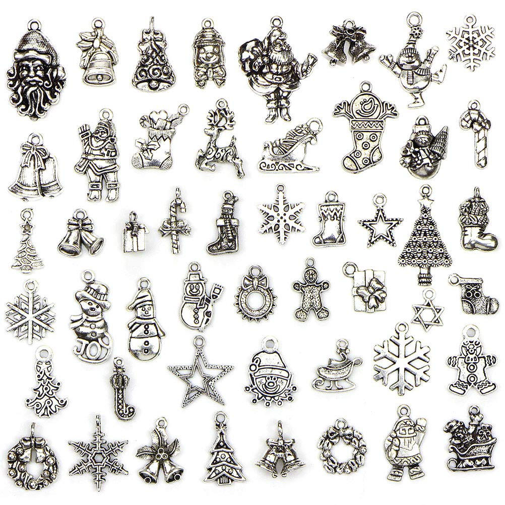 OneYANG 50 Pcs Tibetan Silver Pendant Accessories Christmas Themes DIY Bracelet Accessories For Jewlerry Making cry bluer