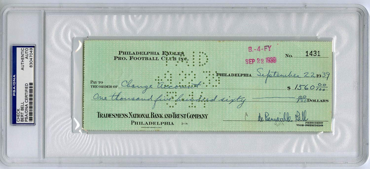 Bert Bell Autographed Signed Check NFL Commissioner Eagles Steelers PSA/DNA Authentic Signature