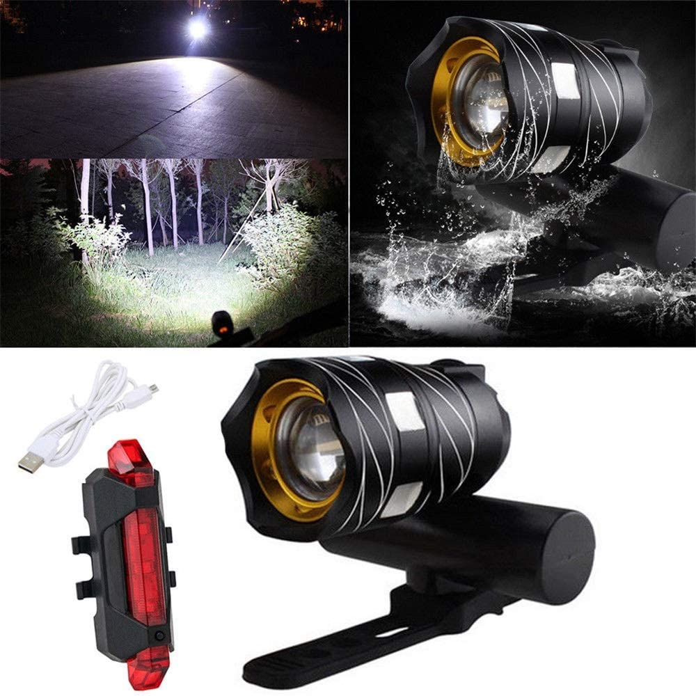 15000LM T6 LED MTB Rechargeable Rear/&Front Set Bicycle Lights Bike Headlight USB