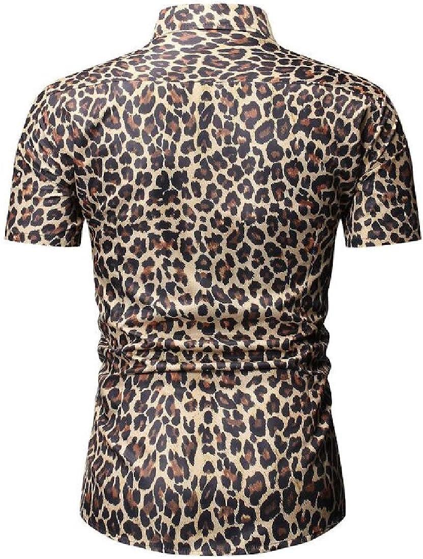 UUYUK Men Short Sleeve Casual Leopard Print Button Down Slim Shirt