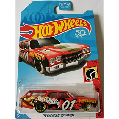 Hot Wheels 2020 50th Anniversary HW Daredevils '70 Chevelle SS Wagon, Red: Toys & Games