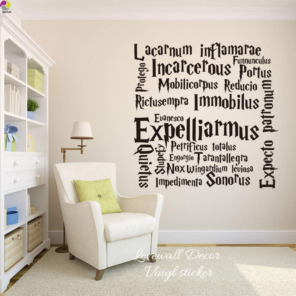 Harry Potter Cita Wall Sticker Sala Infantil Hogwarts Hechizos de ...