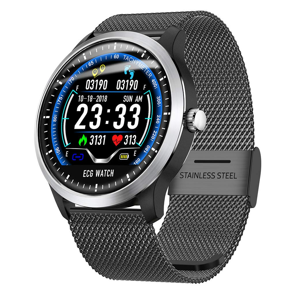 CSSD Smart Watch,Sports Watch N58 1.22Inch Waterproof Supports Running, Cycling, Swimming Fitness Tracker, Heart Rate Monitor, Calorie Consumption 3D UI Mens Smart Watch (Black)