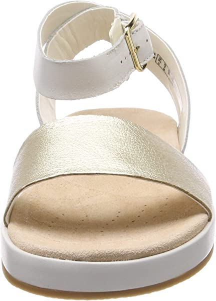 547d9ef43 Clarks Botanic Ivy Leather Sandals in Cream Standard Fit Size 3. Back.  Double-tap to zoom