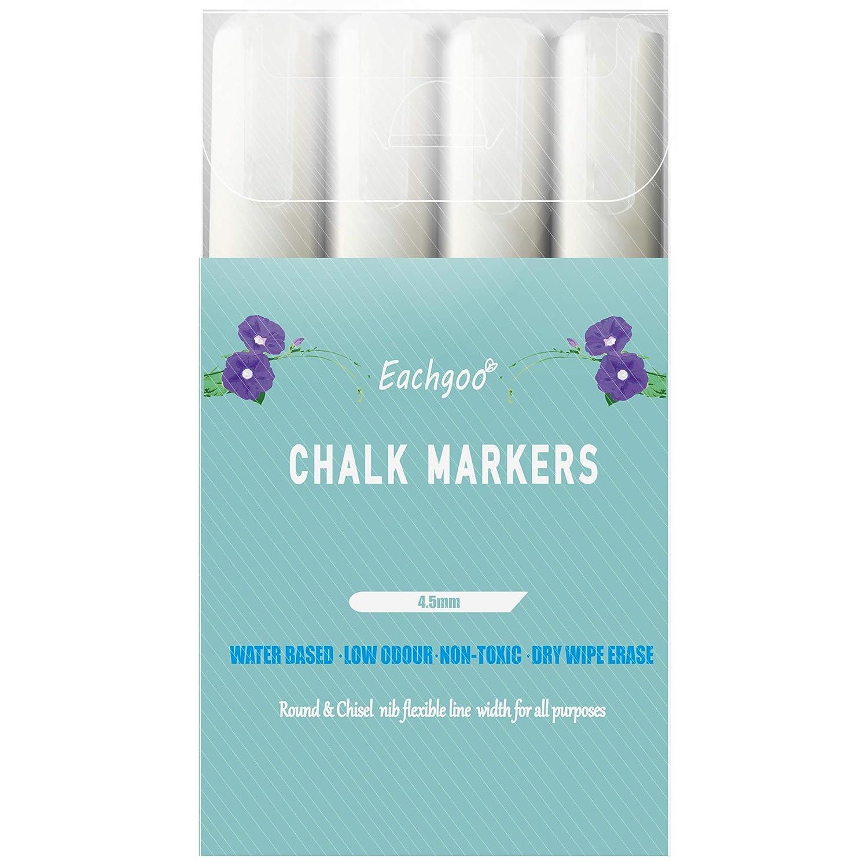 Eachgoo Marqueurs Craie, 4.5mm Pointe Fine Feutre Craie Blancs Effaçage à Sec Pack de 4 Craie Liquide Blanche