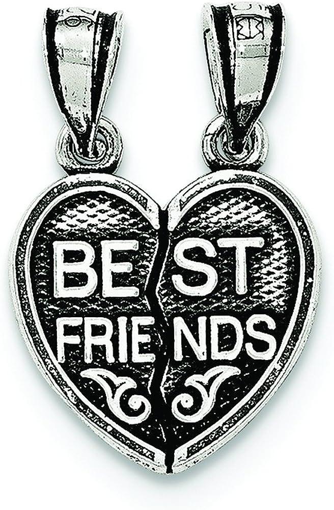 .925 Sterling Silver Antiqued Mini Best Friends Break Away Heart Charm Pendant