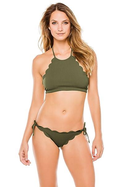 4cc51f57aaae3 Marysia Women's Antibes Scallop Mott High Neck Halter Bikini Top Olive S:  Marysia: Amazon.ca: Clothing & Accessories