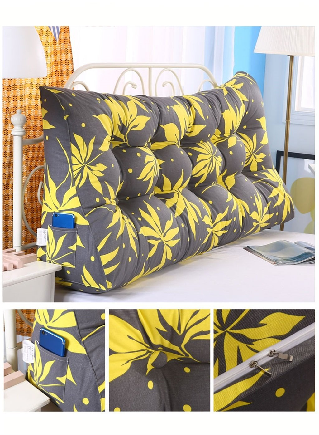 Almohada Almohada Almohada Triangular Cojín Cabecero Double Soft Tatami Pillow Lumbar Pillow Bed Large Cojín Sofá Respaldo Almohada (Color   2, Tamaño   90cm) 2a12ff