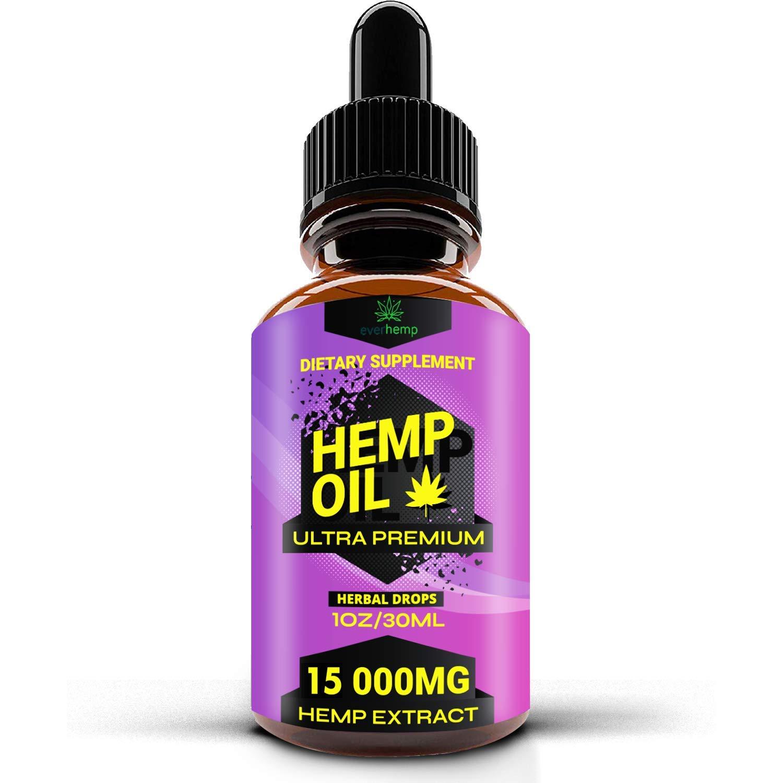 Everhemp - Hemp Oil Drops 15 000 MG - Effective Pain Reliever - Made in USA  - Zero CBD, Zero THC