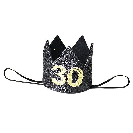 Amazon Kirei Sui Adult 30th Birthday Glitter Crown Headband Black Gold Clothing