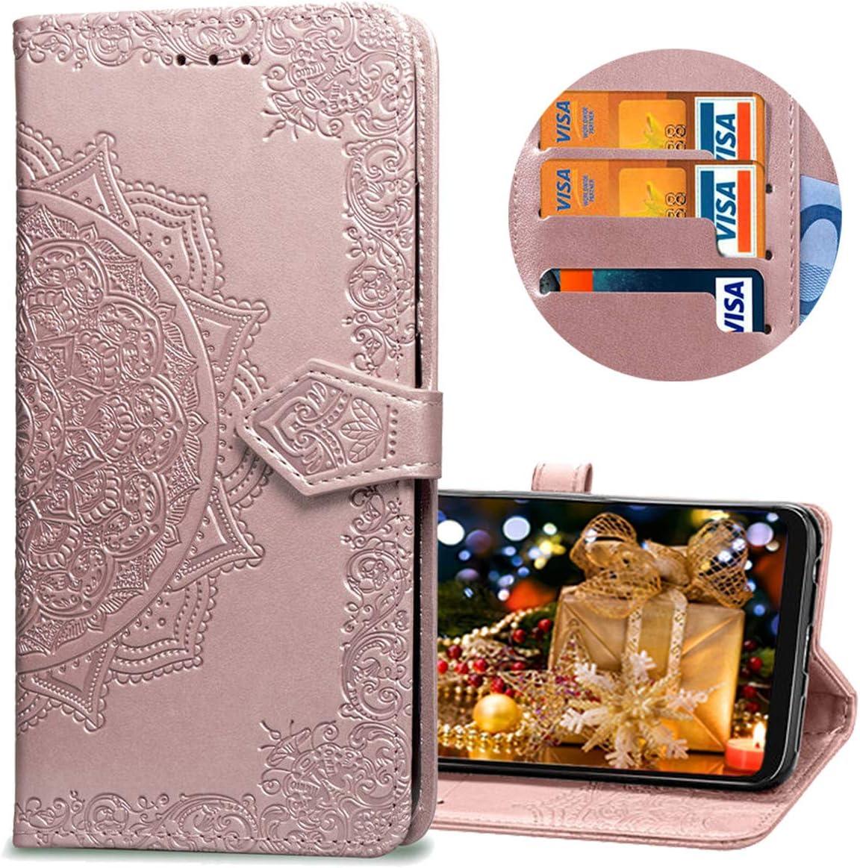 MRSTER Funda Compatible con Xiaomi Redmi 5 Plus, PU Cuero Flip Folio Carcasa, Cierre Magnético, Función de Soporte, Billetera PU Cuero Funda para Xiaomi Redmi 5 Plus. SD Mandala Rose Gold