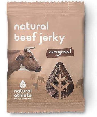 Beef Jerky Original Natural Athlete, Carne Seca 100% de Vacuno, Sin Gluten, Sin Lactosa, Sin Azúcar Refinado Añadido, Sin Aditivos Artificiales, 25 g