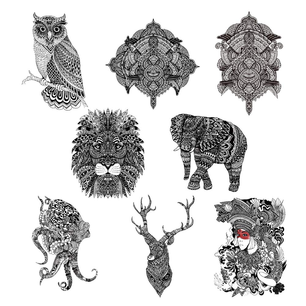 8 Creative Design Temporary Tattoos by Inktells 2020 new,Waterproof fake tattoos for Women Men Adult Kids Boys Girls,Neck Back Arm Hand Stickers about Amimal Owl Lion Elephant Deer Octopus(4 sheets)