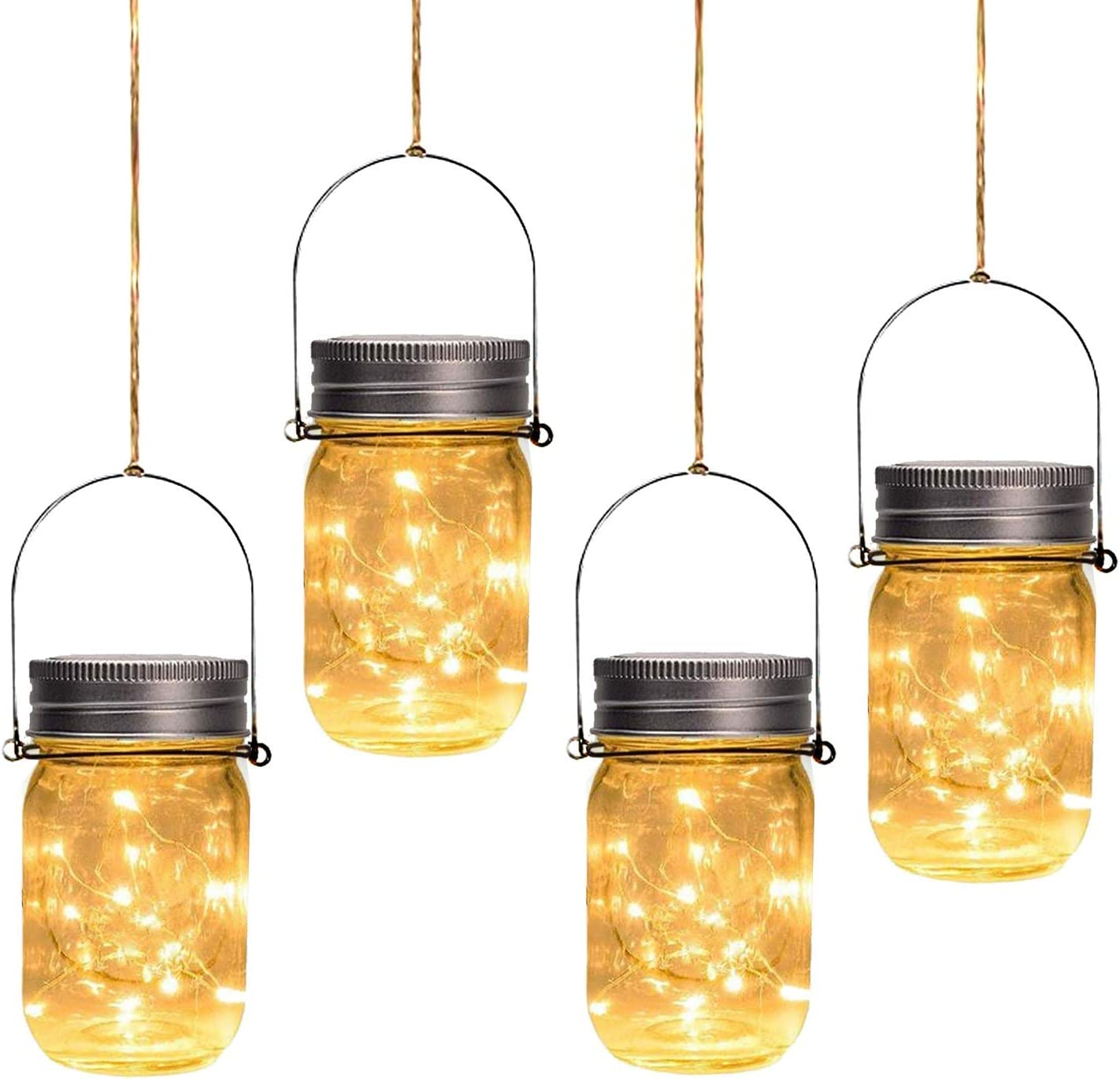 Otdair Solar Mason Jar Lights, 4 Pack 30 LED Outdoor Hanging Solar Lights for Garden Party Patio Fairy Wedding Decor (Jars & Handles Included)