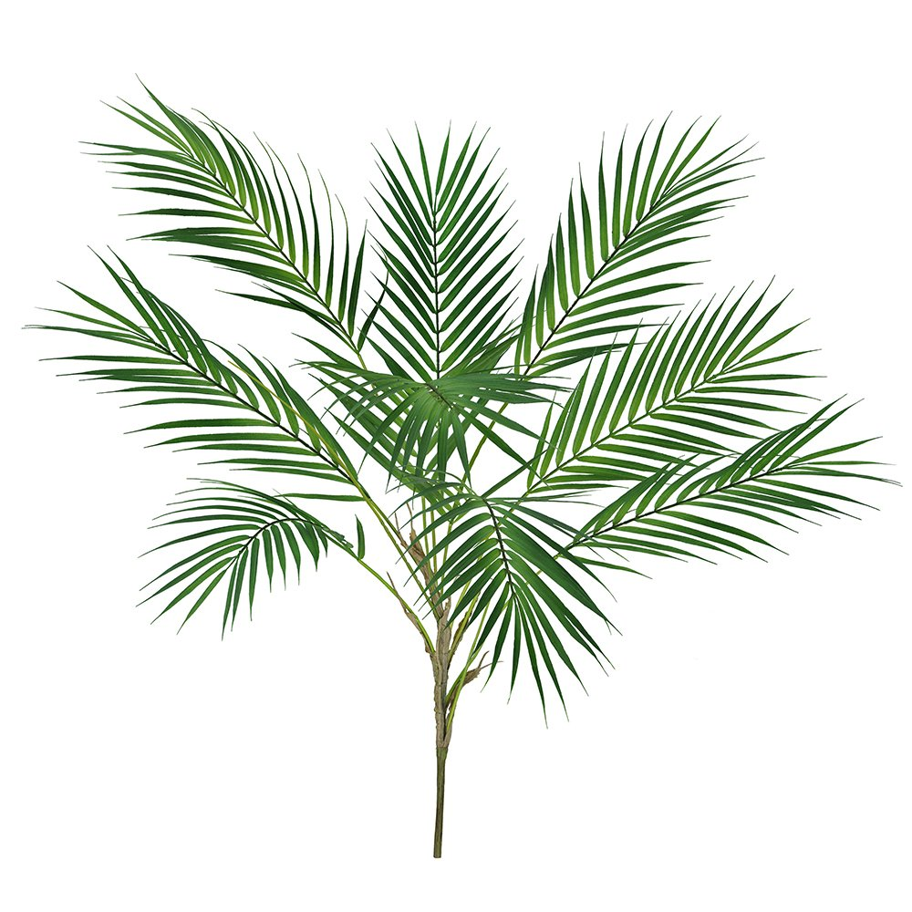 Amazon Supla 1 Pcs Artificial Tropical Palm Leaf Bush In Green Plastic Areca Plant 9 Leaves Per 334 Tall Greenery Accent Home