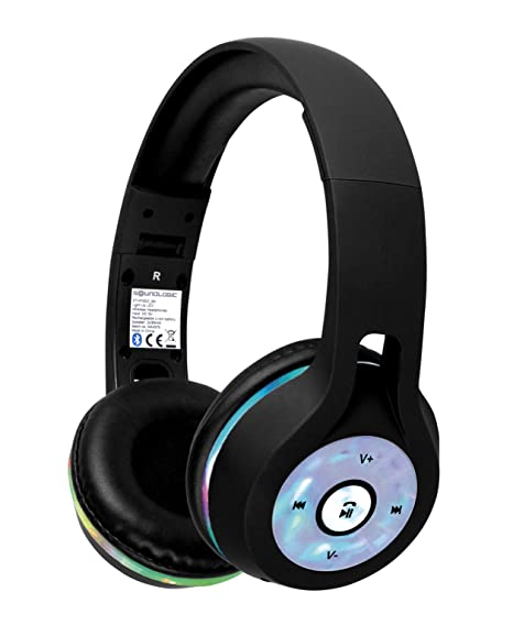 Sound Logic Wireless Bluetooth On-Ear Stereo Light Up Headphones with LED  Lights