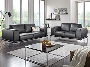 Leder Couchgarnitur 3 2 Sitzer Ledersofa Schwarz Nizza Designer Sofa