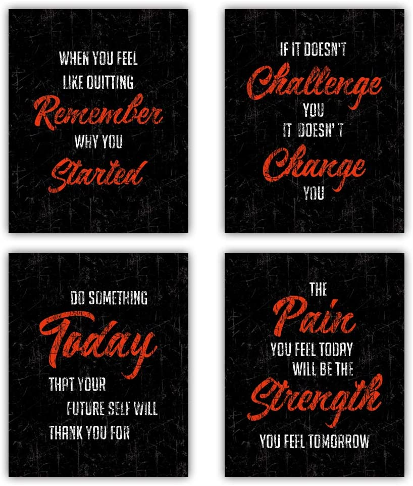 "Motivational Saying Art Print,Inspirational Chalkboard Word Art Prints, Watercolor Motivational Words & Saying Wall Art Poster Set Of 4(8""X10"", Unframed), Canvas Painting Poster For Gym,Exercise Classroom Decor"