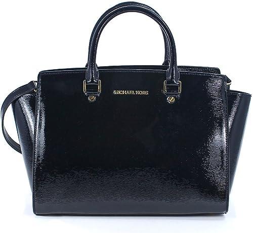 Michael Kors Selma Large Top Zip Satchel Patent Leather Black