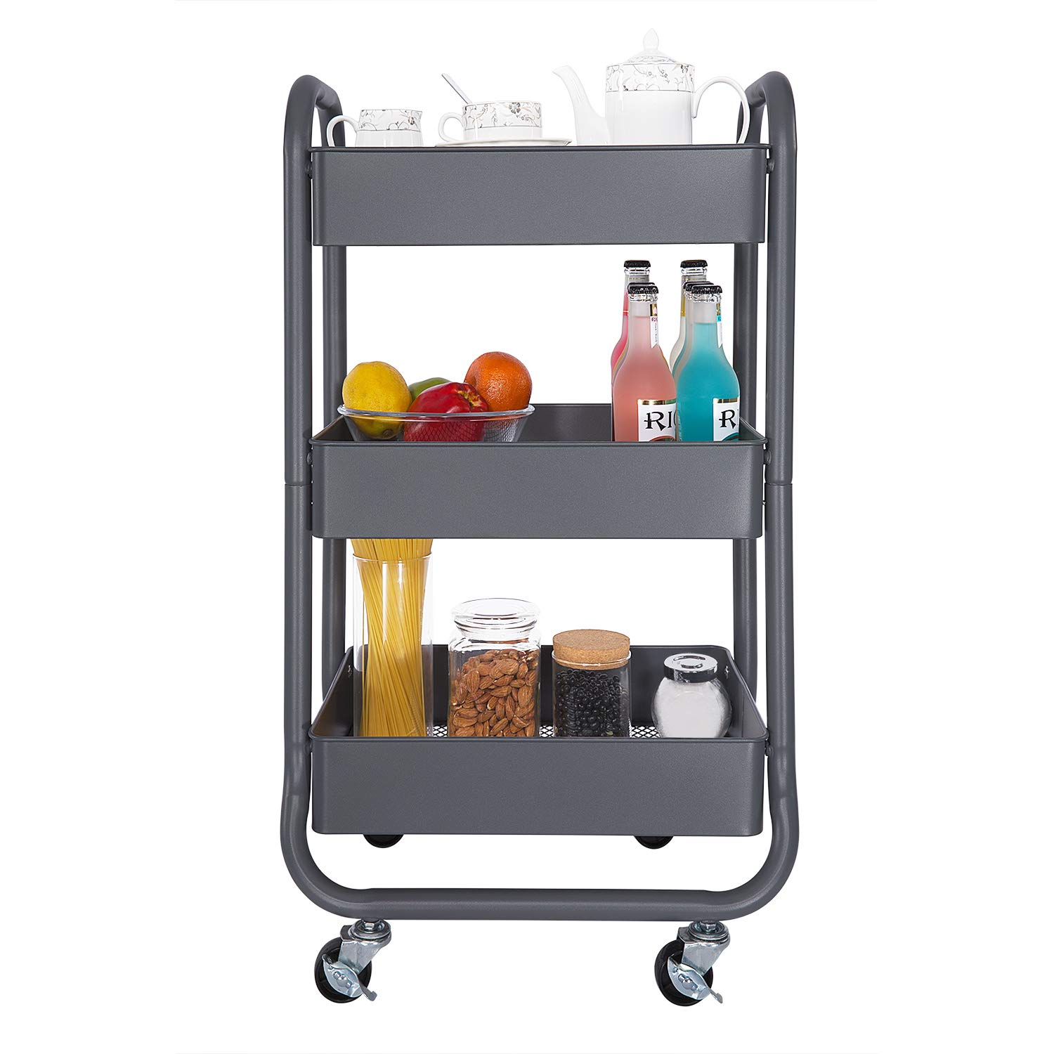 DESIGNA Metal Rolling Storage Cart 3 Tiers Utility Mobile Organization Cart with Handles Suitable for Office Home Kitchen or Outdoor, Gray by DESIGNA (Image #1)