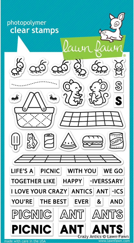 Lawn Fawn LF2336 Crazy Antics 4X6 Clear Stamp Set