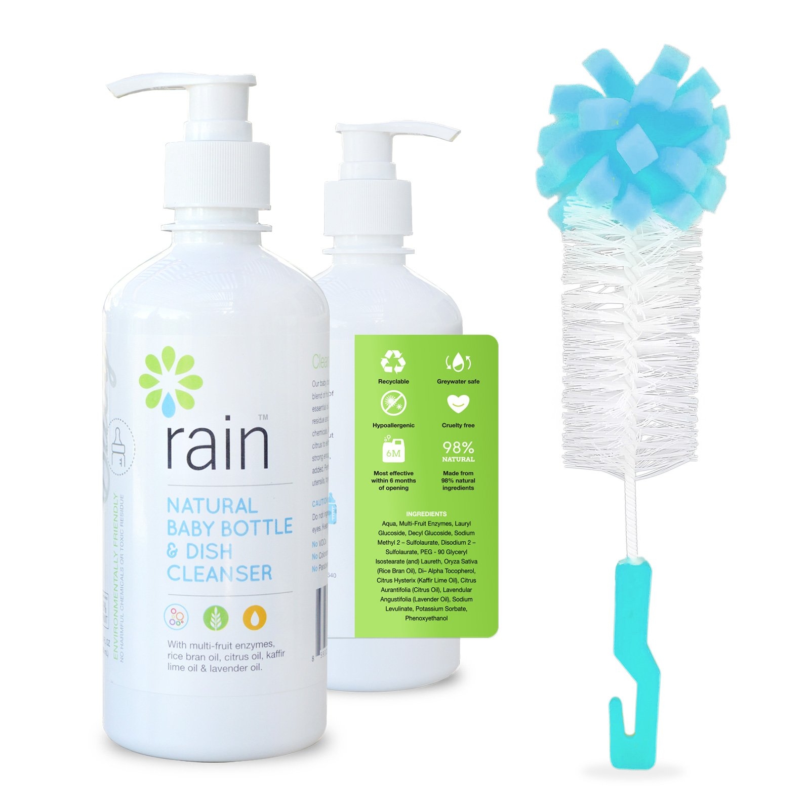 Rain Natural Baby Bottle and Dish Cleanser (13.5 oz.) Fruit & Plant-Based Soap Wash and Cleaner | Utensils, Dishware, Toys, Pacifiers, Accessories | Moisturizing Skincare (With Brush)