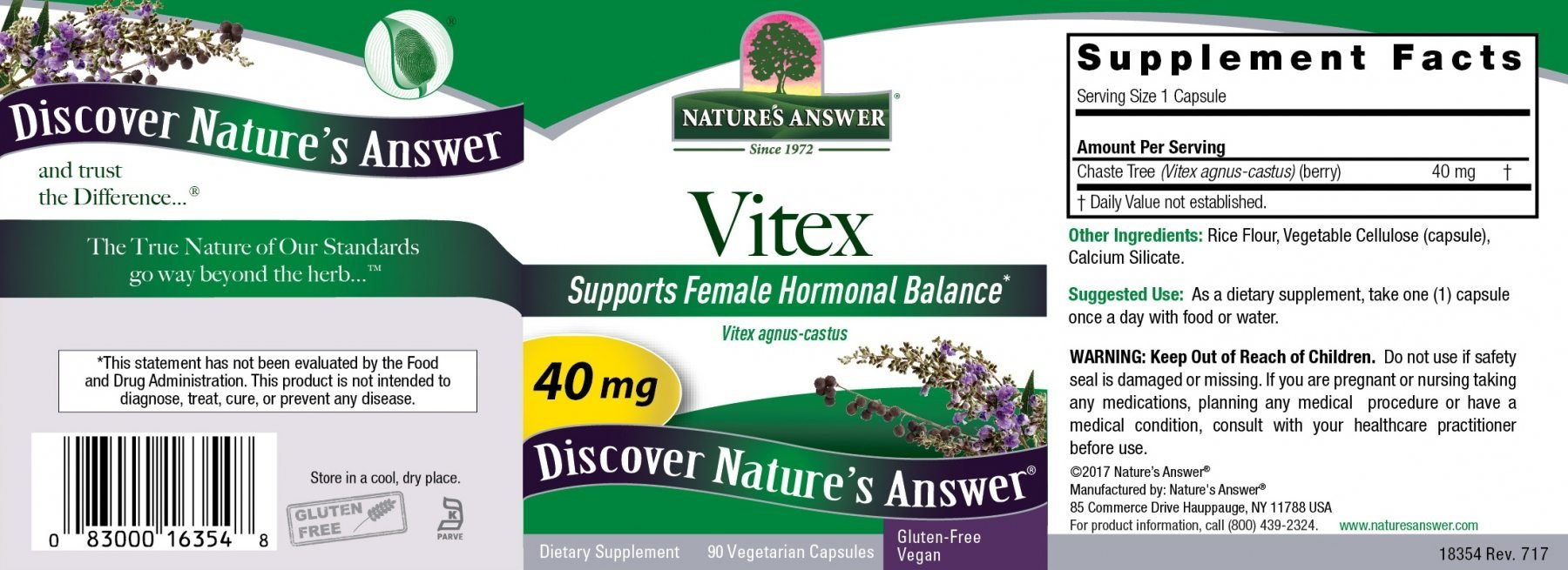 Nature's Answer Vitex Agnus-Castus, Chastetree Berry, 90 Count 40mg (Pack of 12)