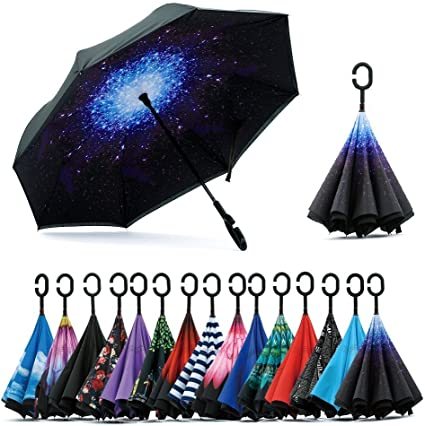 Turgyer Peacock Feather Car Reverse Umbrella Inverted Umbrella with C-Shaped Handle for Car Rain