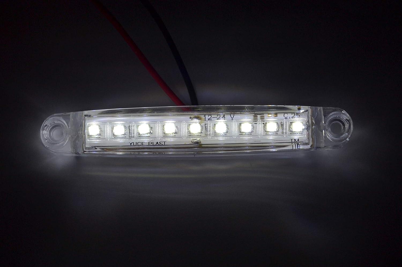 IVATECH 2 X 12V Feux DE GABARIT LATERAUX 9 LED Blanc pour Camion Caravane Chassis Remorque Fourgon