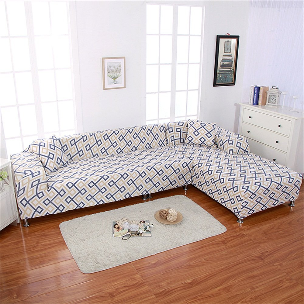 2pcs Stretch Printed Sofa Cover High-Strength Elastic Polyester Couch Slipcovers + 2pcs Pillow Covers for Sectional Sofa L-Shape Couch With Anti-slip Non-slip (0786) HTDirect
