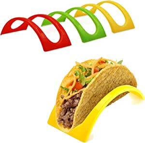 Set of 12 Stackable Colorful Taco Holders, BPA Free, Microwave Safe and Dishwasher Taco Tray Stand Server for Soft and Hard Shell Taco (Red,Yellow,Green)