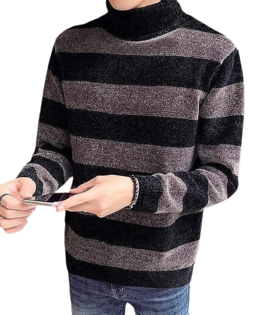 GenericMen Turtle Neck Autumn Winter Stripe Regular Fit Thicker Pullover Sweater