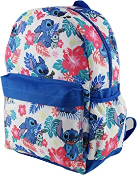 "Disney Little Stitch /& Angel All Printed 16/"" School White Backpack"