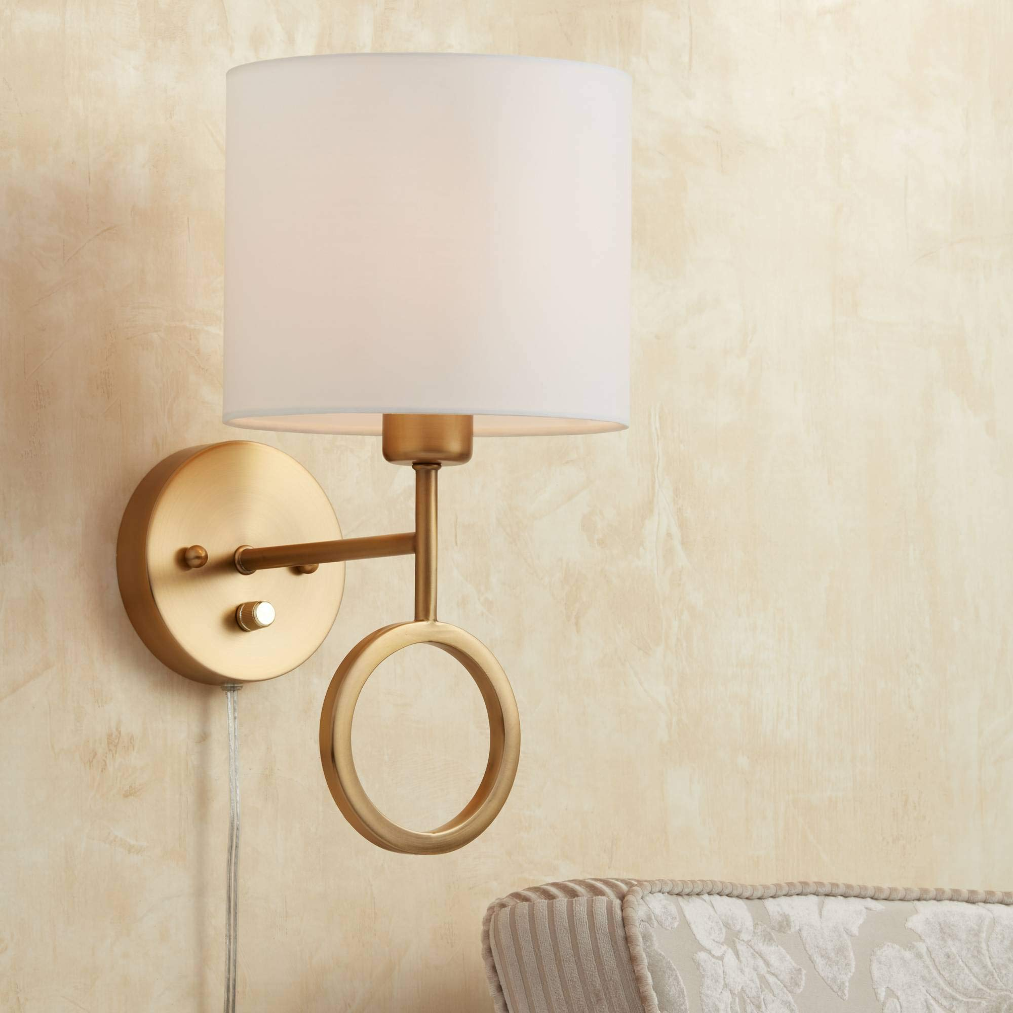 Amidon Wall Lamp Plug in Warm Brass Ring White Drum Shade for Bedroom Living Room Reading - 360 Lighting by 360 Lighting