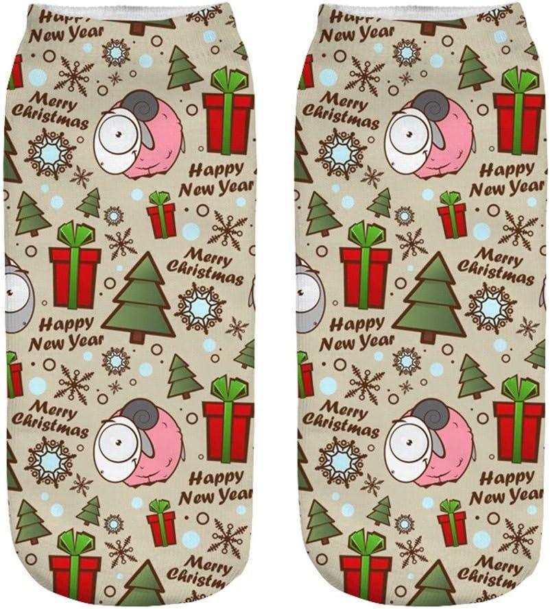 Yliquor 1Pair Christmas Funny Printing Home Socks Winter Warm Bed Sleep Socks Medium Sports Socks Winter Warm Socks Gift for Men Women