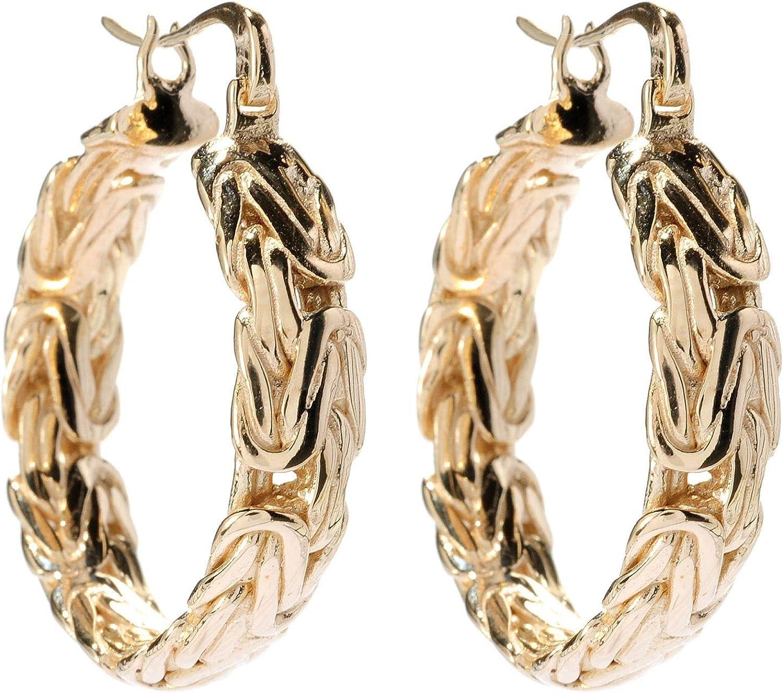 18K Gold Plated 1.5 Textured Hoop Earrings