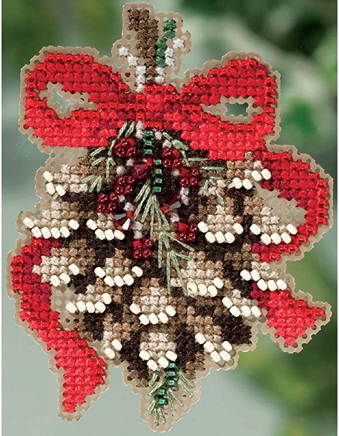 Christmas Bells Beaded Counted Cross Stitch Ornament Kit Mill Hill 2018 Winter Holiday MH181835