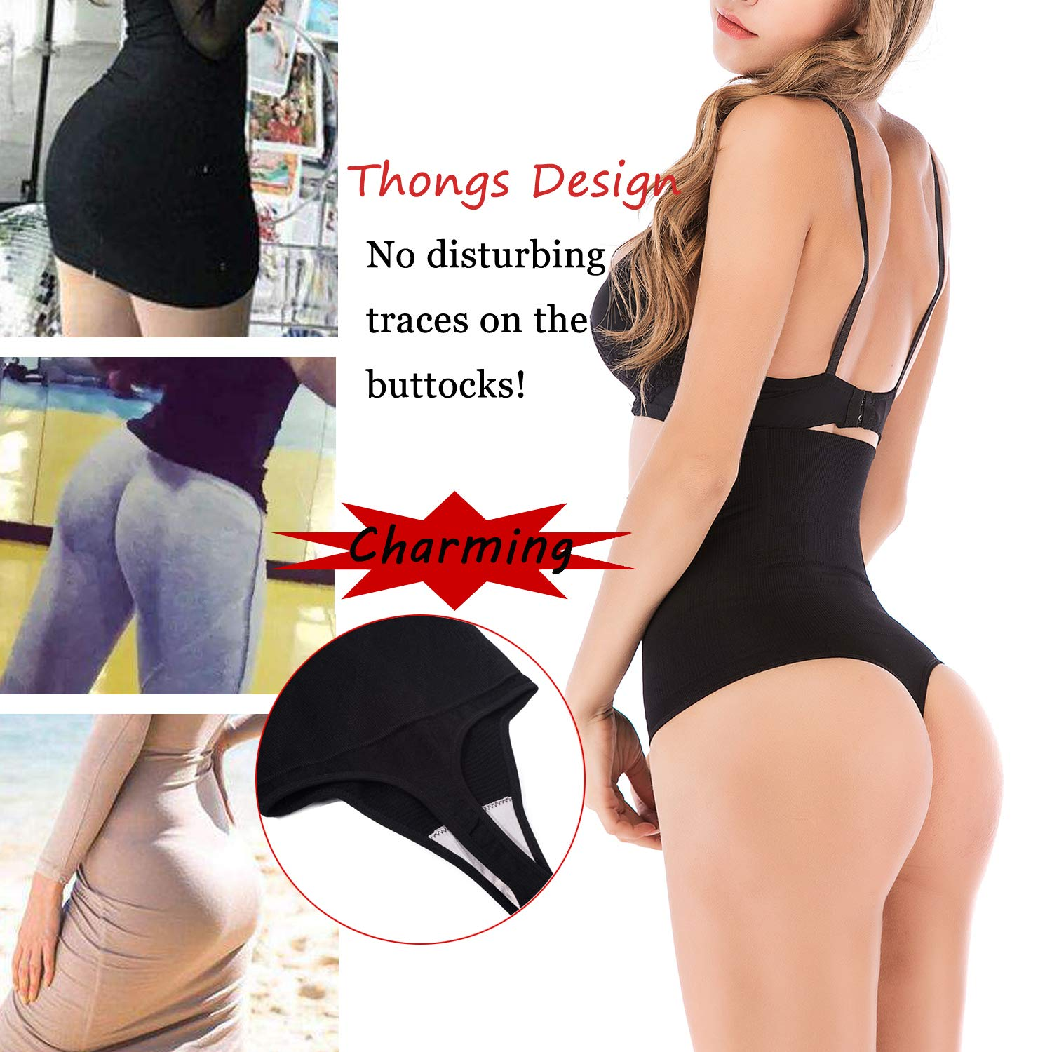 OMG/_Shop Womens Basic High-Waist Shapewear Waist Trainer Seamless Thongs Tummy Control Panties Underwear