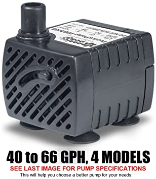 PonicsPump PP04005: Submersible Pump, 40 GPH, 120 Volts AC, 5 Foot Cord  (Compare to Jebao PP300LV)  Comes with 1 year limited warranty